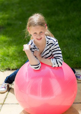 Child with exercise ball